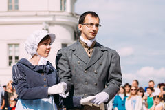 Minsk, Belarus. Couple of people dressed in clothes of the 19th Royalty Free Stock Photos