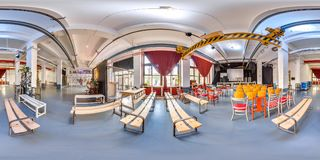 Minsk, Belarus - 2018: 3D spherical panorama with 360 viewing angle of the party loft interior with stage and chairs. Ready for vi stock photo