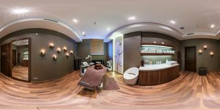 MINSK, BELARUS - DECEMBER 3, 2013: full 360 degree panorama in equirectangular spherical projection in modern beauty spa saloon stock photos