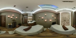 MINSK, BELARUS - DECEMBER 5, 2013: Full 360 panorama in equirectangular spherical projection in tandem massage in beauty saloon. stock photography