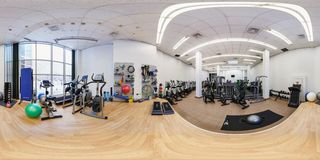MINSK, BELARUS - DECEMBER 13, 2016: Panorama in store of sports equipment and simulators. Full spherical 360 by 180 degrees stock photography