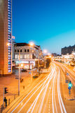 Minsk, Belarus. Evening Night Traffic On Illuminated Nemiga Stre Royalty Free Stock Photos