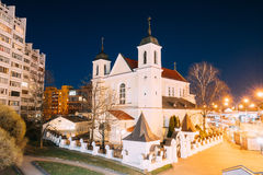 Minsk, Belarus. Evening Night View Of Cathedral of the Holy Apos Stock Photos