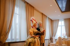 MINSK, BELARUS - FEBRUAR 1, 2018: beautiful couples on a secular. Ball Royalty Free Stock Photography