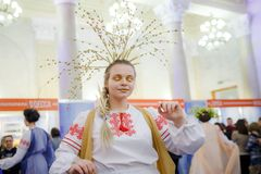MINSK, BELARUS - FEBRUAR 1, 2018: beautiful girl in Belarusian t. Raditional costume Royalty Free Stock Photography