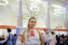 MINSK, BELARUS - FEBRUAR 1, 2018: beautiful girl in Belarusian t. Raditional costume Royalty Free Stock Photo