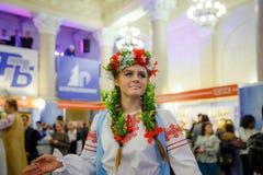 MINSK, BELARUS - FEBRUAR 1, 2018: beautiful girl in Belarusian t. Raditional costume Stock Photo