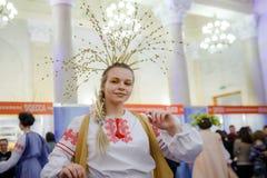 MINSK, BELARUS - FEBRUAR 1, 2018: beautiful girl in Belarusian t. Raditional costume Royalty Free Stock Images