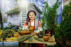 MINSK, BELARUS - FEBRUAR 1, 2018: beautiful girl in Belarusian t. Raditional costume Stock Images