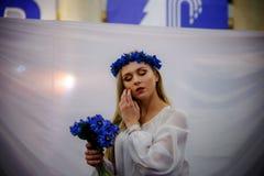 MINSK, BELARUS - FEBRUAR 1, 2018: beautiful girl in Belarusian t. Raditional costume Stock Photos