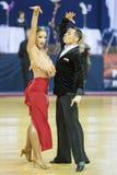 MINSK-BELARUS FEBRUARI, 17: Den Unidentified dansen kopplar ihop utför Fotografering för Bildbyråer