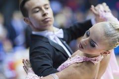 MINSK-BELARUS, FEBRUARY, 9: Egor Kosyakov-Anastasiya Belmach per Royalty Free Stock Images