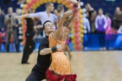 MINSK-BELARUS, FEBRUARY, 9: Egor Kosyakov- Anastasiya Belmach Pe Royalty Free Stock Photography