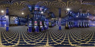 MINSK, BELARUS - FEBRUARY 3, 2015: full 360 degree panorama in equirectangular spherical projection in modern luxury casino, VR royalty free stock images