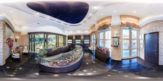 MINSK, BELARUS - FEBRUARY, 2013: Full seamless panorama 360 angle degrees view inside interior of luxury jewelry store in stock images