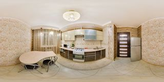 MINSK, BELARUS - FEBRUARY, 2013: Full seamless Panorama 360 angle view in interior stylish kitchen in modern flat apartment in stock photo