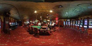 MINSK, BELARUS - FEBRUARY, 2017: full seamless panorama 360 degrees angle view in interior elite luxury casino with croupiers stock photo