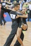 Minsk, Belarus-February 15,2015: Kosyakov Egor and Belmach Anast. Asiya from Belarus Performs Adult Latin-American program on IDSA World Professional 10 Dance Stock Images