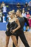 Minsk, Belarus-February 15,2015: Kosyakov Egor and Belmach Anast. Asiya from Belarus Performs Adult Latin-American program on IDSA World Professional 10 Dance Stock Image
