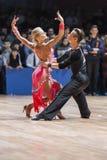 Minsk, Belarus-February 15,2015: Kosyakov Egor and Belmach Anast. Asiya from Belarus Performs Adult Latin-American program on IDSA World Professional 10 Dance Stock Photography