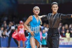 Minsk, Belarus-February 15,2015: Lebed Denys and Tikhonova Kater Royalty Free Stock Images