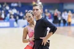 Minsk- Belarus, February, 23: Matvei Minkevich- Yuliya Matyuta P. Erform Youth-2 Latin-American Program on Open Minsk WDSF Championship 2014 on February, 23 Royalty Free Stock Images