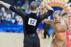 MINSK-BELARUS, FEBRUARY, 9: Unidentified Dance Couple Performs A Royalty Free Stock Photos