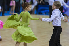 MINSK-BELARUS, FEBRUARY, 9: Unidentified Dance couple performs J Royalty Free Stock Images