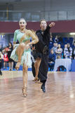Minsk-Belarus, February, 23: Unidentified Dance Couple Performs Royalty Free Stock Photography