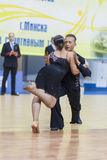 Minsk-Belarus, February, 23: Unidentified Dance Couple Performs Royalty Free Stock Images