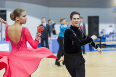 Minsk-Belarus, February, 22: Unidentified Dance Couple Performs Royalty Free Stock Photography