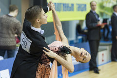 Minsk-Belarus, February, 22: Unidentified Dance Couple Performs Stock Images