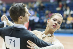 Minsk-Belarus, February, 22: Unidentified Dance Couple Performs Royalty Free Stock Image