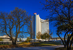 Minsk, Belarus, hotel. Beautiful modern building `Belarus` hotel, Street Storozhevskaya, Minsk, Belarus - 18/10/2016, editorial stock photo