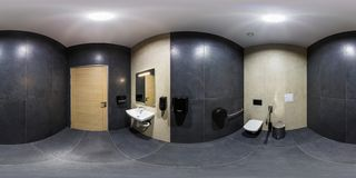 MINSK, BELARUS - JANUARY, 2019: full seamless spherical panorama 360 degrees angle view in interior bathroom restroom in modern stock photo