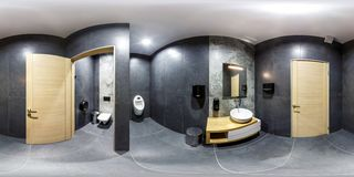 MINSK, BELARUS - JANUARY, 2019: full seamless spherical panorama 360 degrees angle view in interior stylish bathroom restroom in royalty free stock image