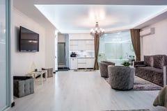 MINSK, BELARUS - January, 2019: luxure hall interior loft flat apartments stock photography