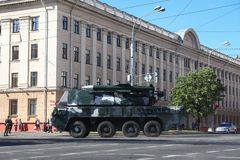 Minsk, Belarus - July 3, 2019: military vehicles on its way to the parade of the Independence Day of Belarus on July 3rd