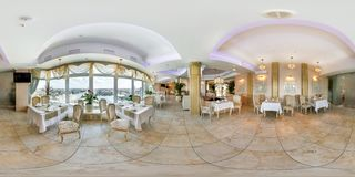 MINSK, BELARUS - JULY 15, 2014: Full 360 degree panorama in equirectangular spherical projection in stylish cafe complex Belarus royalty free stock images