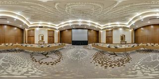 MINSK, BELARUS - JULY, 2017: full seamless 360 degrees angle view panorama in interior of modern empty conference hall for stock image