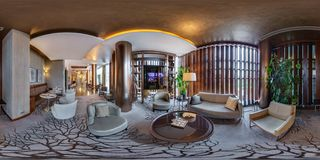 MINSK, BELARUS - JULY, 2017: full seamless panorama 360 by 180 angle view in interior of luxury guest relax waiting room in elite royalty free stock photo