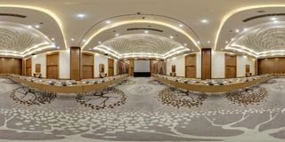 MINSK, BELARUS - JULY, 2017: full seamless panorama 360 degrees angle view in interior of luxury empty conference hall for royalty free stock photo