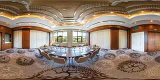 MINSK, BELARUS - JULY, 2017: full seamless panorama 360 degrees angle view in interior of luxury empty conference hall for royalty free stock photography