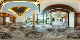 MINSK, BELARUS - JULY, 2017: full seamless panorama 360 degrees angle view in interior of luxury empty conference hall for royalty free stock photos