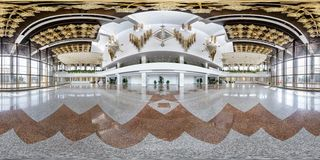 MINSK, BELARUS - JULY, 2016: full seamless panorama 360 degrees angle view in interior of luxury empty hall with beautiful huge. Chandelier in equirectangular stock images