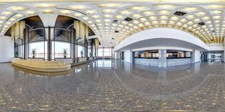 MINSK, BELARUS - JULY, 2016: full seamless panorama 360 degrees  angle view in interior of luxury empty hall with beautiful huge stock photography