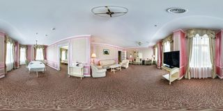 MINSK, BELARUS - JULY, 2016: Full seamless spherical 360 degree angle view panorama in interior of modern guest room of hotel in stock image