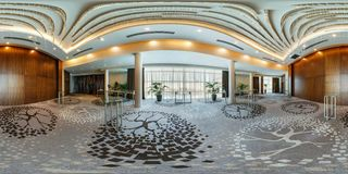 MINSK, BELARUS - JULY, 2017: panorama 360 angle view in interior of luxury empty conference hall for business meetings with. Banquet buffet rack in stock image