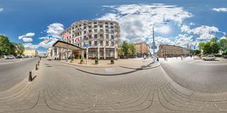 MINSK, BELARUS - JULY 14, 2016: Panorama of exterior facade of a hotel in the old town on a sunny day. Full spherical 360 by 180 royalty free stock photos