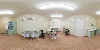 MINSK, BELARUS - JULY 27, 2011: Panorama of interier dentist surgeon orthopedist therapist cabinet in modern clinic, full 360 royalty free stock images